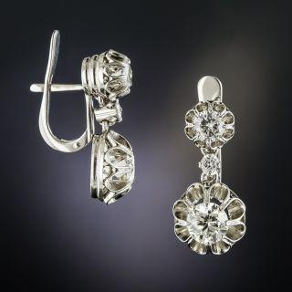 Vintage Platinum 2.60 Carat Diamond Dangle Earrings