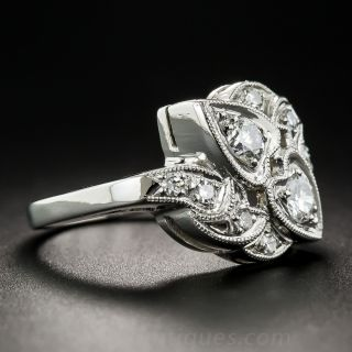 Vintage Platinum Diamond Double Heart Ring