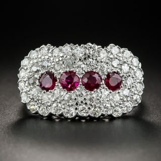Vintage Platinum Ruby and Diamond Cluster Ring