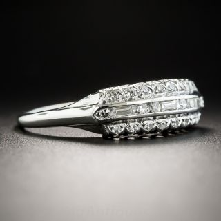 Vintage Platinum Three-Row Diamond Band Ring