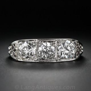 Vintage Platinum Three-Stone Diamond Ring