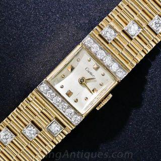 Vintage Retro Gold and Diamond Watch