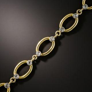 Vintage Rose-Cut Diamond Oval Link Bracelet - 2