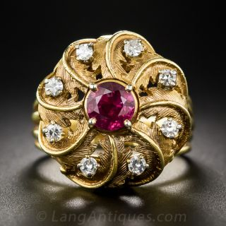 Vintage Ruby and Diamond Bombe Swirl Ring - 1