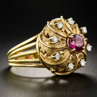 Vintage Ruby and Diamond Bombe Swirl Ring