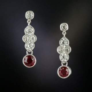 Vintage Ruby and Diamond Platinum Drop Earrings  - 1