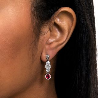 Vintage Ruby and Diamond Platinum Drop Earrings