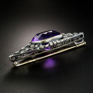 Vintage Russian Gem Amethyst and Diamond Brooch