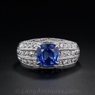 Vintage  Sapphire and Diamond Ring - Unisex