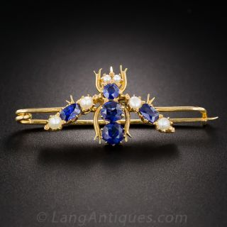 Vintage Sapphire and Pearl Insect Pin