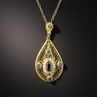 Art Nouveau Sapphire and Pearl Pendant - 2