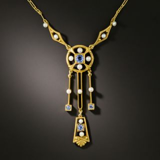 Vintage Sapphire and Seed Pearl Lavalier by Frank Krementz - 3