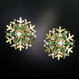 Vintage Snowflake Emerald and Diamond Earrings - 3