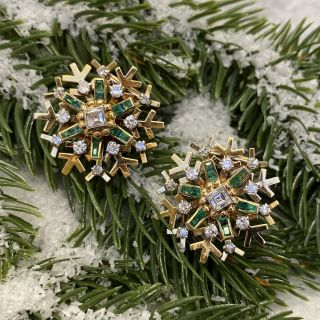 Vintage Snowflake Emerald and Diamond Earrings