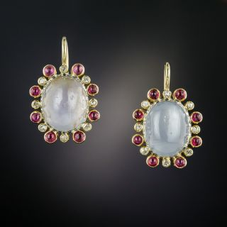 Vintage Star Sapphire, Diamond and Ruby Earrings - 3