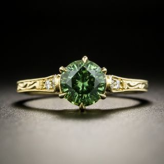 Vintage Style 1.46 Carat Demantoid Garnet Ring - 2
