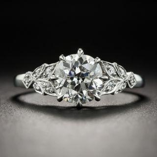 Vintage Style 1.47 Carat Diamond Platinum Engagement Ring - GIA I SI1 - 1
