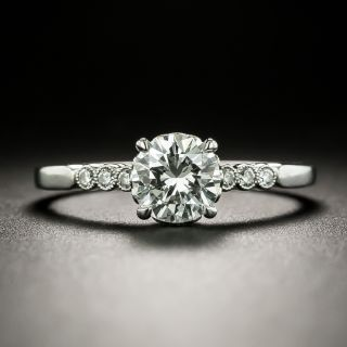 Vintage Style .78 Carat Diamond Platinum Engagement Ring