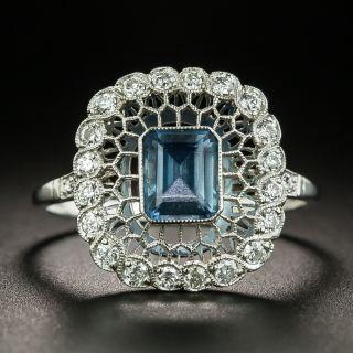 Vintage Style Aquamarine and Diamond Honeycomb Ring - 2