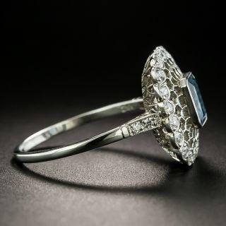 Vintage Style Aquamarine and Diamond Honeycomb Ring