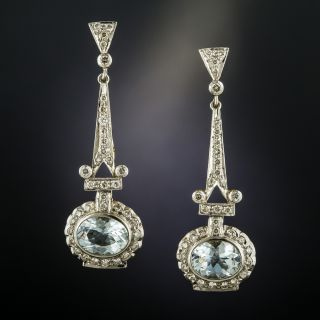 Vintage Style Aquamarine Diamond Drop Earrings - 3