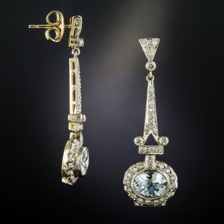 Vintage Style Aquamarine Diamond Drop Earrings