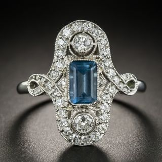 Art Deco Style Aquamarine Platinum Diamond Dinner Ring - 2