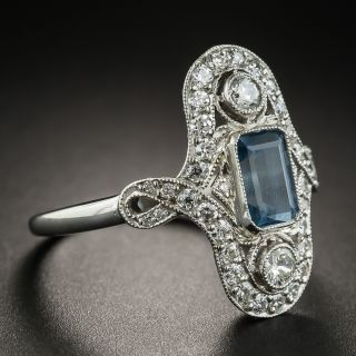 Vintage Style Aquamarine Platinum Diamond Dinner Ring