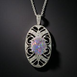 Vintage Style Black Opal Diamond Platinum Pendant - 1