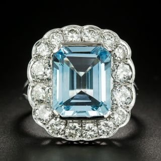 Vintage Style Blue Topaz and Diamond Cocktail Ring - 3
