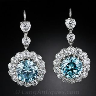 Antique Style Blue Zircon and Diamond Earrings - 1