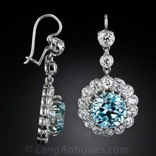 Vintage Style Blue Zircon and Diamond Earrings