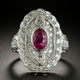 Vintage Style Burmese Ruby and Diamond Dinner Ring - 3