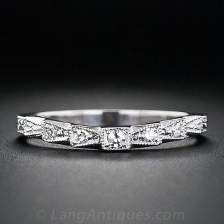 Vintage Style Contoured Diamond Wedding Band - 1
