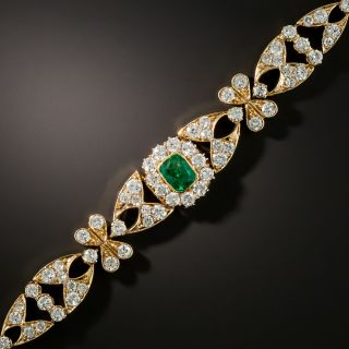 Vintage Style Emerald Diamond Bracelet - 2