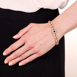 Vintage Style Emerald Diamond Bracelet