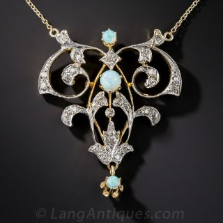 Vintage Style Opal and Diamond Pendant - 1