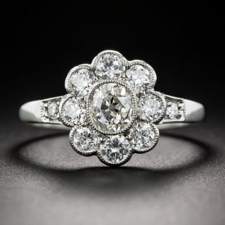 Vintage Style Platinum and Diamond Cluster Ring