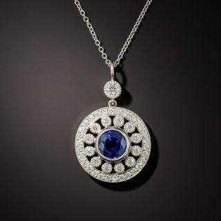 Vintage Style Sapphire and Diamond Pendant - 4