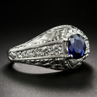 Vintage Style Sapphire, Platinum and Diamond Ring