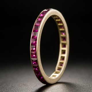 Vintage Synthetic Ruby Rose Gold Eternity Band - Size 7 1/2 - 2