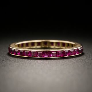 Vintage Synthetic Ruby Rose Gold Eternity Band - Size 7 1/2