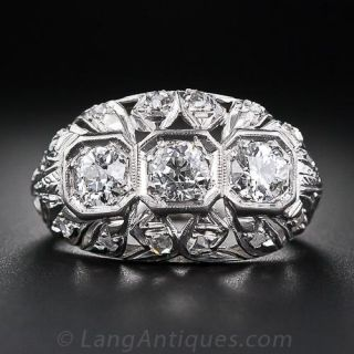Vintage Three-Stone Diamond Ring in Platinum