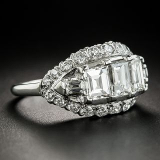 Vintage Three-Stone Emerald-Cut Diamond Platinum Engagement Ring