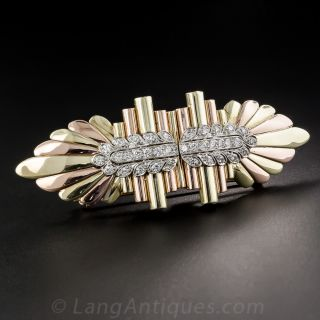 Vintage Two-Tone Gold and Platinum Diamond Clips/Brooch - 1