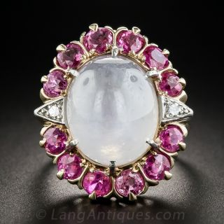 Vintage 'White' Star Sapphire, Pink Sapphire and Diamond Ring
