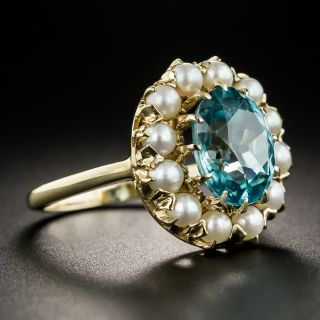 Vintage Zircon and Pearl Ring by Baden & Foss