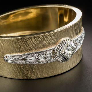 Wide 14K /Platinum Diamond Bangle Bracelet