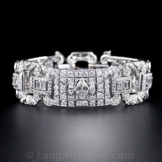 Wide Art Deco Diamond Bracelet - 1