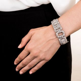 Wide Art Deco Diamond Bracelet